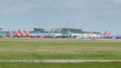 Southwest Airlines at Hobby Airport in Houston TX - stock footage