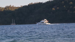 White ship motor sailing on the sea Stock Footage