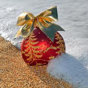 Christmas decoration on the beach Stock Photos