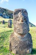 Three standing moai statues Stock Photos