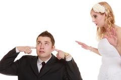 wedding couple having argument conflict, bad relationships - stock photo