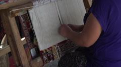 Ephesus Turkey woman weaves handmade Turkish rug HD 042 Stock Footage