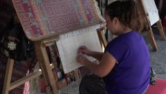 Ephesus Turkey woman handmade rug HD 040 Stock Footage