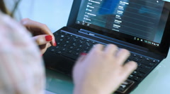 young woman using notebook: fill out a form on-line: registration, personal data - stock footage