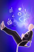 man mime present business symbols - stock illustration