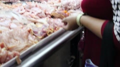 Asian woman shopping raw food at the fresh market in Thailand Stock Footage