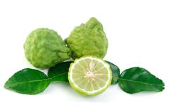 Kaffir lime on white background Stock Photos