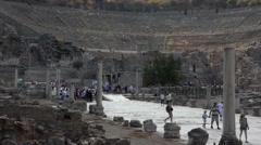 Ephesus Turkey ancient theater ruins tourists HD Stock Footage