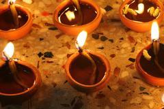 traditional diwali lamps - stock photo