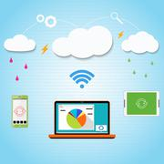 Vector cloud computing to your smartphone, laptop and tablet connected through - stock illustration