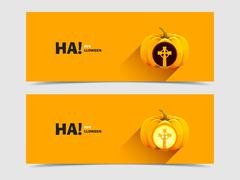 Burial tomb cross carved on a pumpkin for Halloween Stock Illustration