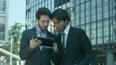 business people using tablet: pad, ipad, touchscreen, technology, internet, web  - stock footage