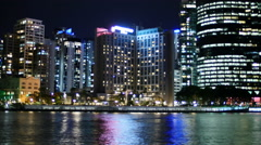 Brisbane ferries at night TL PAL 4K Stock Footage
