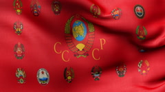 All flags USSR Stock Footage