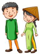 Two Asian people Stock Illustration
