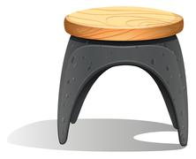 A plastic chair with a wooden seat - stock illustration