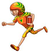 An energetic American football player Stock Illustration