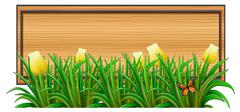 An empty wooden signboard with plants - stock illustration