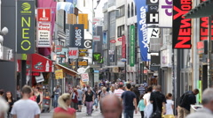 Fashion Brand Clothes Store People Shopping Street Famous Market Area Cologne Stock Footage