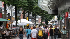 Breite Strasse Cologne Busy People Walk Shopping Street Symbol Fashion Landmarks Stock Footage