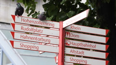 Crossroad Street Sign Indicator Sightseeing Places Route Arrow Cologne Pigeons Stock Footage