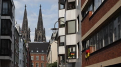 Establishing Shot Famous Iconic Cologne Cathedral Residential Apartment House Stock Footage