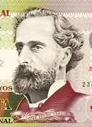 Stock Photo of jose pedro varela (1845-1879) on 50 pesos 2008 banknote from uruguay. uruguay