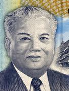 Kaysone phomvihane (1920-1992) on 2000 kip 2011 from laos. political leader o Stock Photos