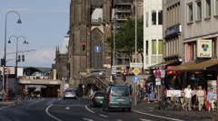 Cologne City Center Crossroad Busy Intersection Location Establishing Shot Cars Stock Footage
