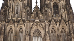 Beautiful Facade Detail Close Up German Symbol Icon Cologne Cathedral Background Stock Footage