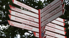 Cologne Touristic Destination Roadsign Direction Crossroad Street Sign Indicator Stock Footage