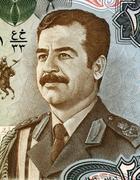 saddam hussein (1937-2006) on 25 dinars 1986 banknote from iraq. fifth presid - stock photo