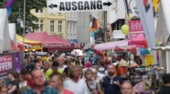 Cologne Diversity Festival Gay Pride Parade Narrow Old Town Street People Walk Stock Footage