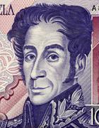 simon bolivar (1783-1830) on 1000 bolivares 1998 banknote from venezuela. one - stock photo