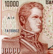 bernardo o'higgins (1778-1842) on 10000 escudos 1970 from chile. chilean inde - stock photo