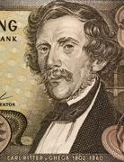 carl ritter von ghega (1802-1860) on 20 schilling 1967 banknote from austria. - stock photo