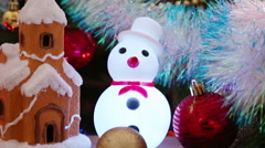 Christmas decoration - house, snowflakes and snowman Stock Footage