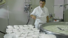 making ricotta cheese in italy: job, fresh, cow, milk - stock footage