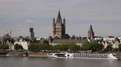 Great Saint Martin Church Cologne Old Town Houses Skyline Tour Boat Rhine River Stock Footage