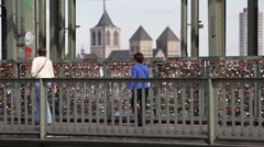 Pedestrians Crossing Hohenzollern Bridge Cologne Crowd People Walk Tourist Visit Stock Footage