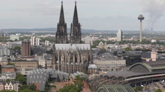 Stock Video Footage of Cologne Skyline Aerial View Establishing Shot Famous Church TV Tower Colonius