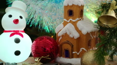 Christmas decoration - house, snowflakes and snowman - stock footage