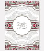 unusual floral ornamental template with place for your text, ori - stock illustration