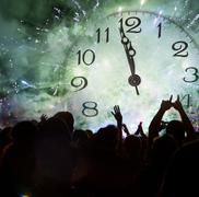 Clock close to midnight, and crowd waiting for new year Stock Illustration