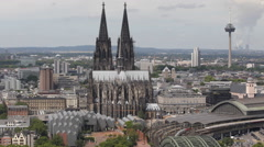 Stock Video Footage of Cologne Cathedral Cityscape Aerial View Establishing Shot Icon TV Tower Colonius