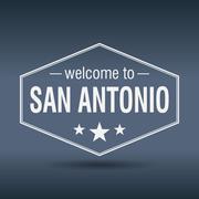 welcome to san antonio hexagonal white vintage label - stock illustration