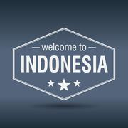Stock Illustration of welcome to indonesia hexagonal white vintage label