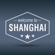 welcome to shanghai hexagonal white vintage label - stock illustration