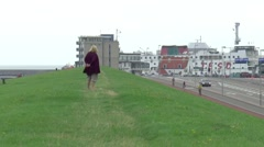 Ferry to the ile of Texel in the harbor of Den Helder - stock footage