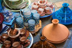 Earthenware in tunisian market Stock Photos